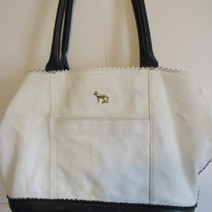 Large Leather Black & White Tote Purse Hand Bag